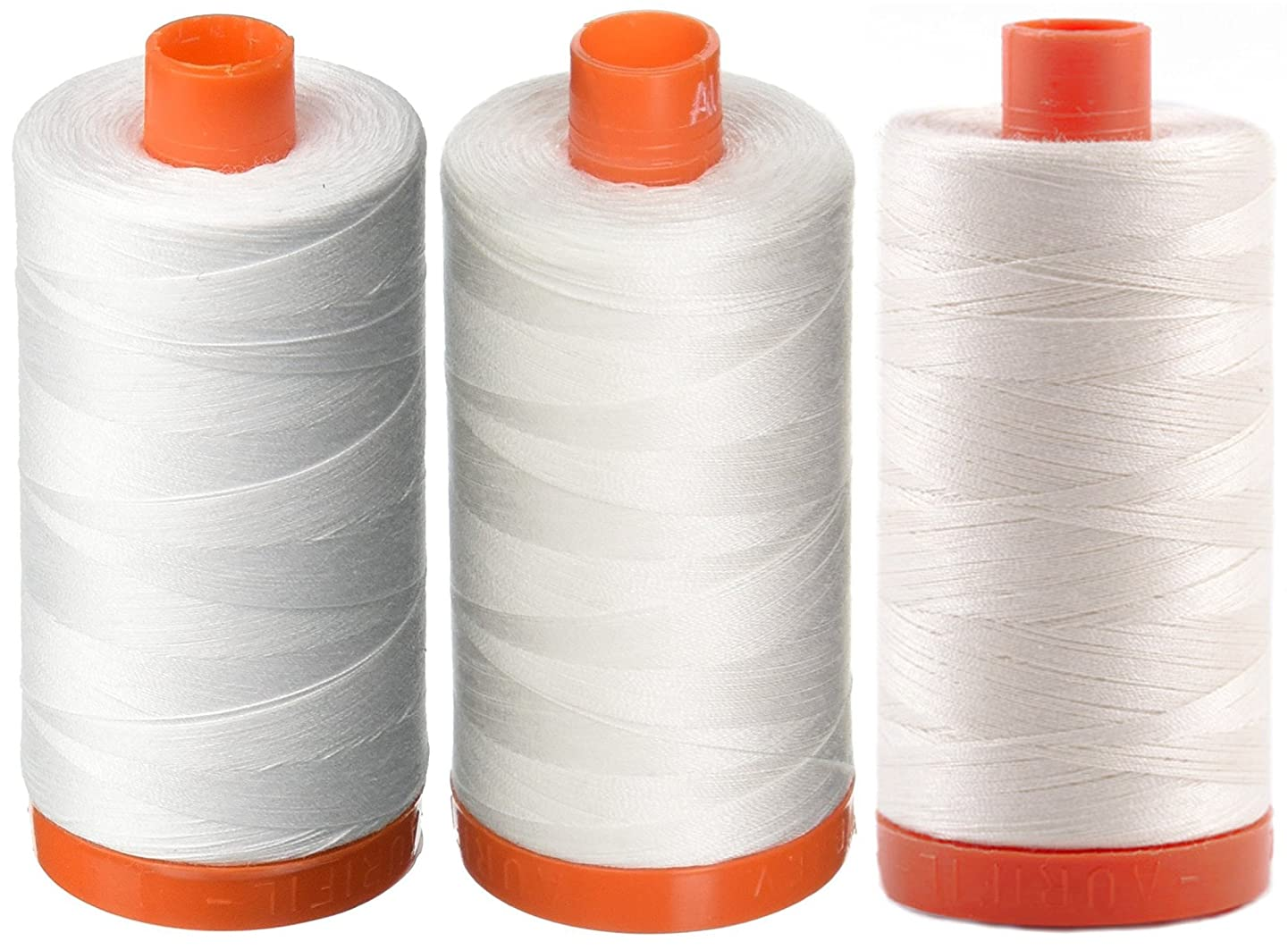 3-PACK - Aurifil 50WT - White + Natural White + Chalk, Solid - Mako Cotton Thread - 1422Yds EACH