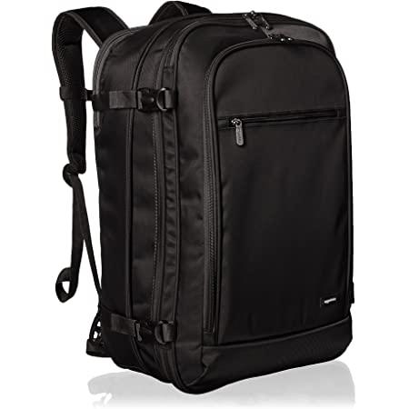 Amazon Basics Handgepäck Reiserucksack, mit Tragegriff und Schultergurt, 25+10L, 1,7kg Eigengewicht, Schwarz