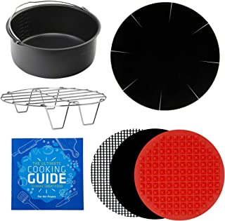 Air Fryer Large to XL Baking Accessories Compatible with Phillips Air Fryer 3.5QT HD9240, Power AirFryer, GoWise, Cozyna, Chefman, Farberware, Della +More Round Fryers by Infraovens