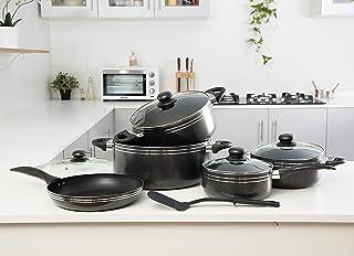 Royalford Cookware Set, Black, Rf7065, 10 Pieces, Aluminium