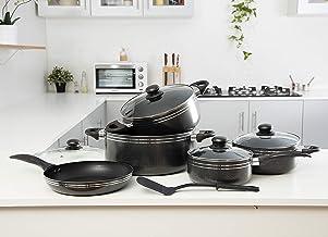 Royalford 10Pcs Nonstick Cookware Set - RF-7065,Black,Aluminum