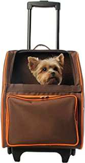 Petote Rio Pet Carrier Bag on Wheels, Chocolate Brown