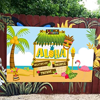 Large Fabric Aloha Party Banner 72''x46'' for Luau Party Supplies, Perfect Decorations for Hawaiian Luau Party, Tiki Themed Birthday Party and Summer Party
