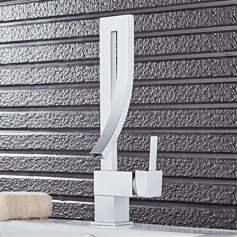 YAWEDA Copper Silver Noodle Pot Bathroom Faucet Noodle Pot Creative Fashion 360 Degree redating Cool Water Mixer Single Hole Faucet Single Handle