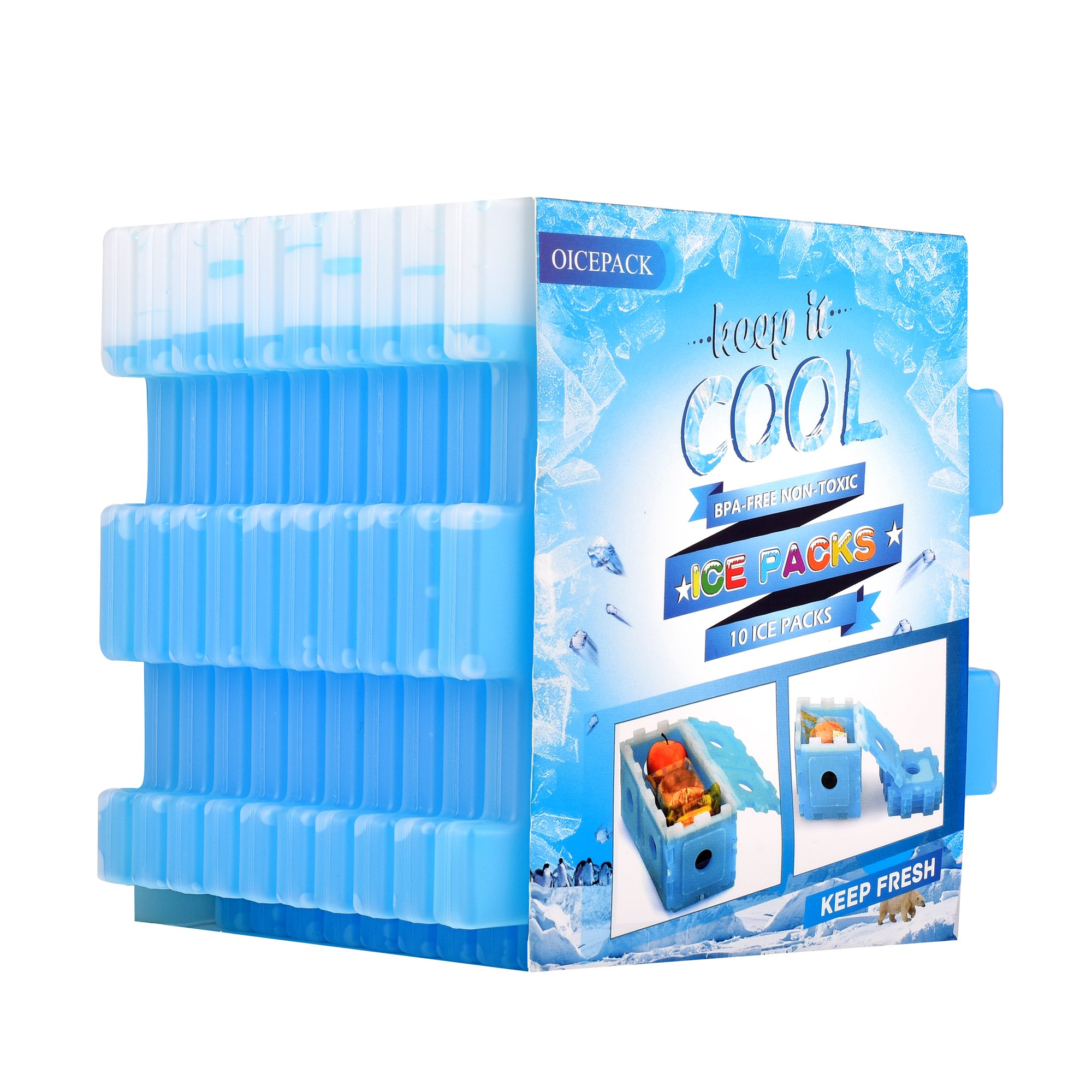 OICEPACK Ice Packs for Lunch Box - Freeze Boards Reusable - Slim Long Lasting Cool Freezer Blocks for Lunch Bags and Cooler