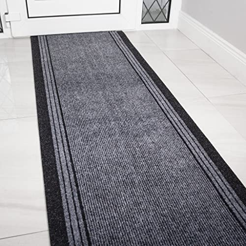 The Rug House Grey Rubber Backed Very Long Hallway Hall Runner Narrow Rugs Custom Length -