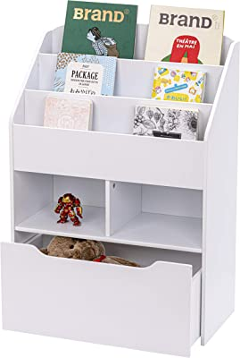 UTEX Kids Bookshelf and Toy Storage Organizer Kids Book Organizer Bookcase Storage for Kids with Rolling Toy Box White