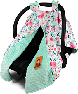 Dear Baby Gear Baby Car Seat Canopy Cover, Floral Watercolor Roses in Shades on Pink, Mint Minky