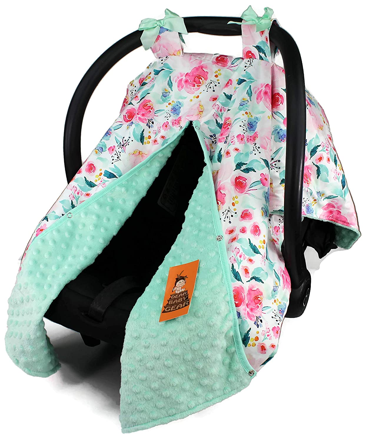 Dear Baby Gear Baby Car Seat Canopy Cover, Floral Watercolor Roses in Shades of Pink, Mint Minky