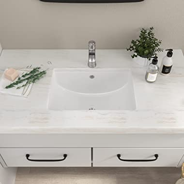 Undermount Bathroom Sink- Mocoloo 20x15 Rectangle Porcelain White Vessel Sink 7.5 Inch Deep Curved Bottom with Overflow, Smal