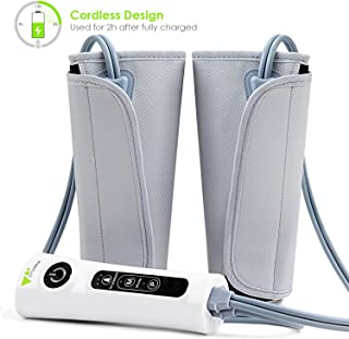 Amzdeal Leg Massager Air Compression Leg Wraps for Calf Arms Foot Circulation Built-in Rechargeable Battery Cordless Design 【Update】