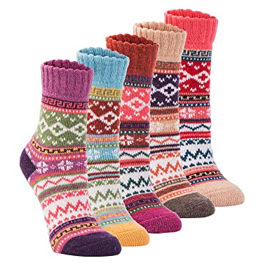 Yannik - Calcetines de lana para mujer, 5 pares, estilo vintage para invierno