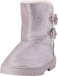 حذاء شتوي لامع للفتيات من بيبي مع حواف من الفرو (رضيع/فتاة صغيرة/فتاة كبيرة)