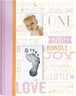 Little Blossoms by Pearhead Vintage Wordplay Baby Five Year Memory Book with an Included Clean-Touch Ink Pad to Create Baby's Handprint or Footprint, Pink