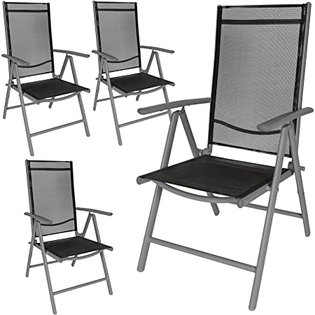 TecTake Aluminium folding garden chairs set adjustable with armrests (Anthracite | 4 chairs | no. 401634)