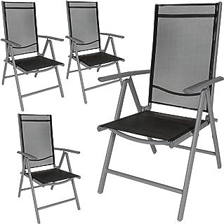TecTake Aluminium folding garden chairs set adjustable with armrests