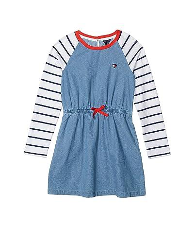 Tommy Hilfiger Kids Denim Raglan Sweatshirt Dress (Big Kids) (Nicole Wash) Girl