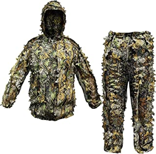 OVTSPO Ghillie Suit 3D Camo Hunting Clothes Lightweight Breathable Leafy and Grass Woodland Gear for Wildlife Photography Hallowee Bird Watchin Jungle Sniper Paintball