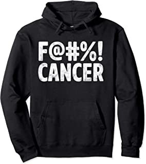 Fuck Cancer Breast Cancer Awareness Gift Distressed F@#%! Pullover Hoodie