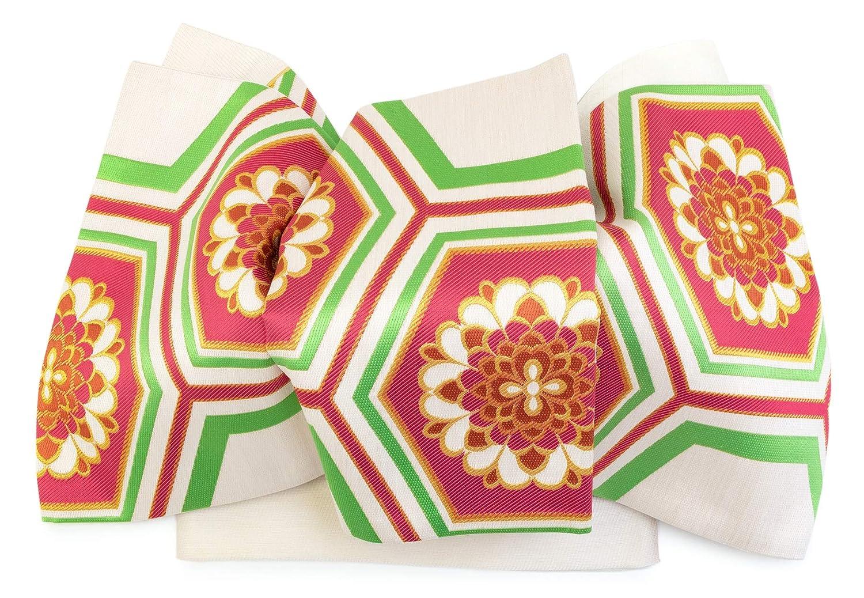 (ソウビエン) 袋帯 未仕立て 丸勇 白系 赤 花亀甲 西陣織 日本製