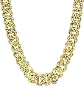 KRKC&CO 12mm/18mm/15mm Iced Cuban Link Chain for Men, 14k Gold Cuban Chain Necklace, Cuban Choker, Hip Hop Jewelry, Prong-...