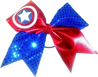 Cheer bows blue and red Sparkly Captain America Hair Bow