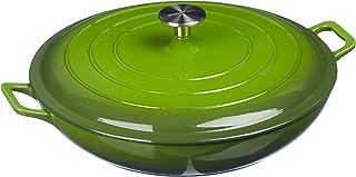 AmazonBasics Enameled Cast Iron Covered Casserole Skillet, 3.3-Quart, Green