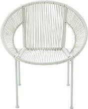 """ساعه مكتب بنية متين من البلاستيك والمعدن Rattan كرسي ، 29. 5"""" x 30"""" ، أبيض"""