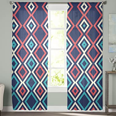 Rod Pocket Semi Sheer Curtains Abstract Geometric Pattern Art Print Light Filtering Drapery Curtains for Office & Living