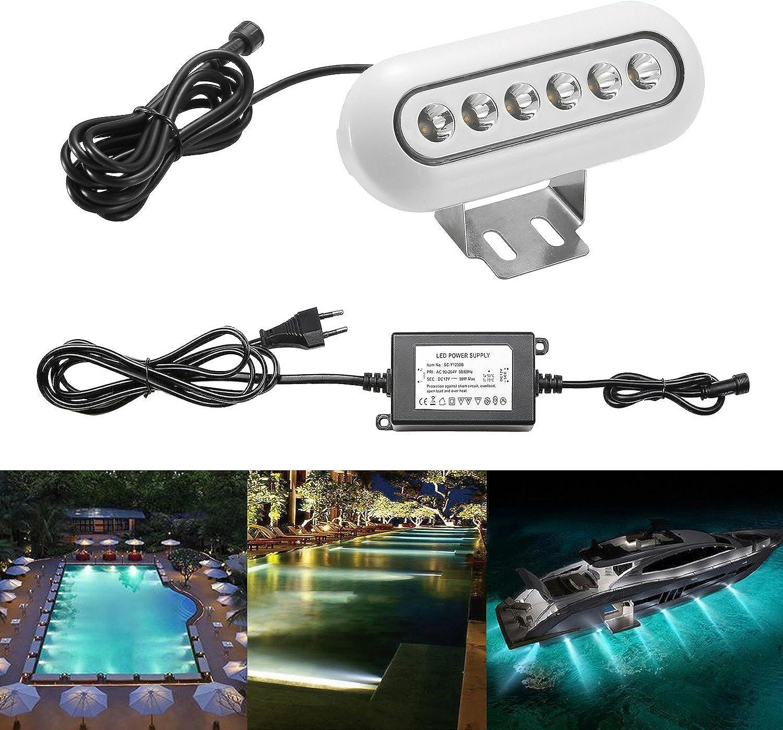 1x QACA SET LED Unterwasserlicht Unterwasserbeleuchtung Kaltwei 6000K-6500K Unterwasserstrahler Teichbeleuchtung Unterwasserleuchte Wasserdicht IP68 12W 169x66x26mm