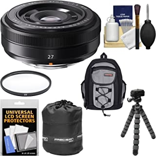 Fujifilm 27mm f/2.8 XF Lens with Backpack + Pouch + Tripod + Filter + Kit for X-A2, X-E2, X-E2s, X-M1, X-T1, X-T10, X-Pro2 Cameras