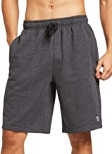 BALEAF Men's Fleece Gym Shorts Cotton 9 Inches with Zipper Pockets for Home Fitness Jogger Casual