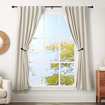 Square Design 1 1//8 Rod Black 120 to 240 Inch Ivilon Drapery Treatment Window Curtain Rod
