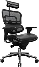 Eurotech Seating Ergohuman LEM4ERG(N) High Leather Seat/Mesh Back Swivel Chair, Black