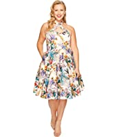 Unique Vintage - Plus Size Rita Cross Neck Swing Dress