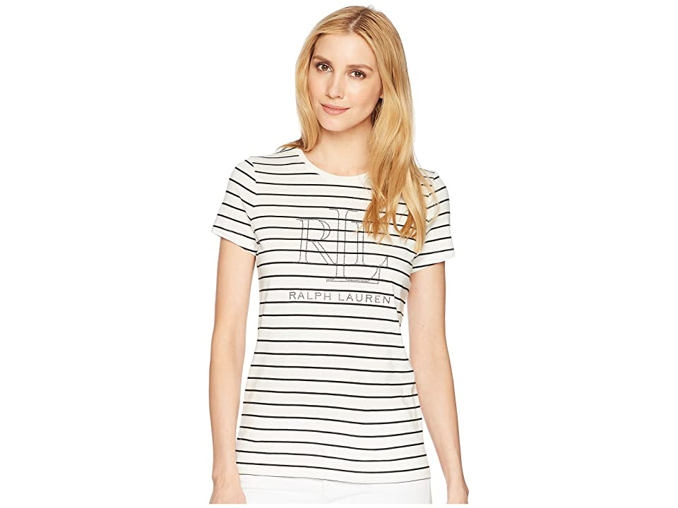 LAUREN Ralph Lauren Studded LRL T-Shirt (Mascarpone Cream/Polo Black) Women