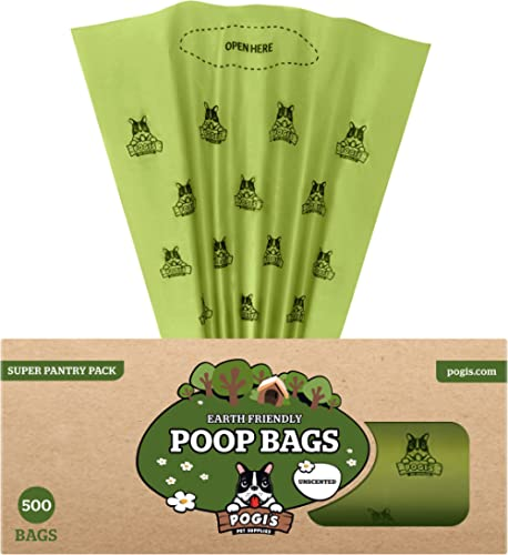 Pogi's Poop Bags - 500 Unscented Bags for Pantries - Large, Earth-Friendly, Leak-Proof Pet Waste Bags (Single Large R...
