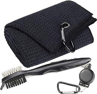 حوله های گلف آربور ، حوله گلف سه وجهی الگوی وفل Microfiber - کیت ابزار قلم مو با تمیز کننده شیار کلوپ ، با هدایای گلف زنانه کلیپ مردانه (برس سیاه مشکی)