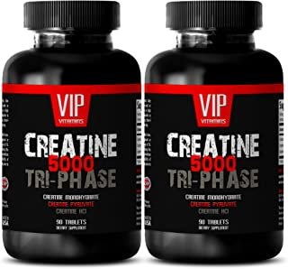 Muscle gain Pills for Men - CREATINE TRI-Phase 5000 - creatine Natural - 2 Bottles (180 Tablets)