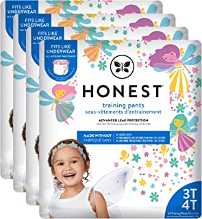 The Honest Company Toddler Training Pants | Fairies | 3T/4T | 92 Count | Eco-Friendly | Underwear-Like Fit | Stretchy Waistband & Tearaway Sides | Perfect for Potty Training