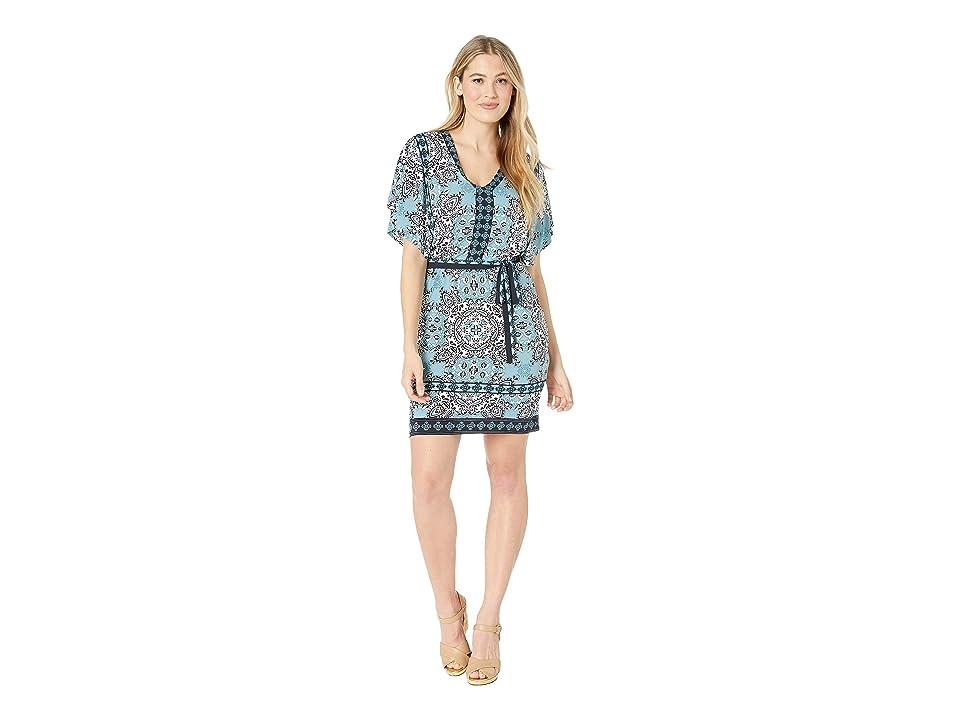 London Times Dolman V-Neck Blouson Dress (Soft White/Blue) Women