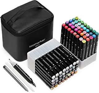 ioiomarker 80 Colors Marker Pen Set Alcohol-Based Dual Tip Permanent Markers with Classic Black Leather Gift Bag for for Draw/Sketch/Illustrate/Profession Design(Animation Design)