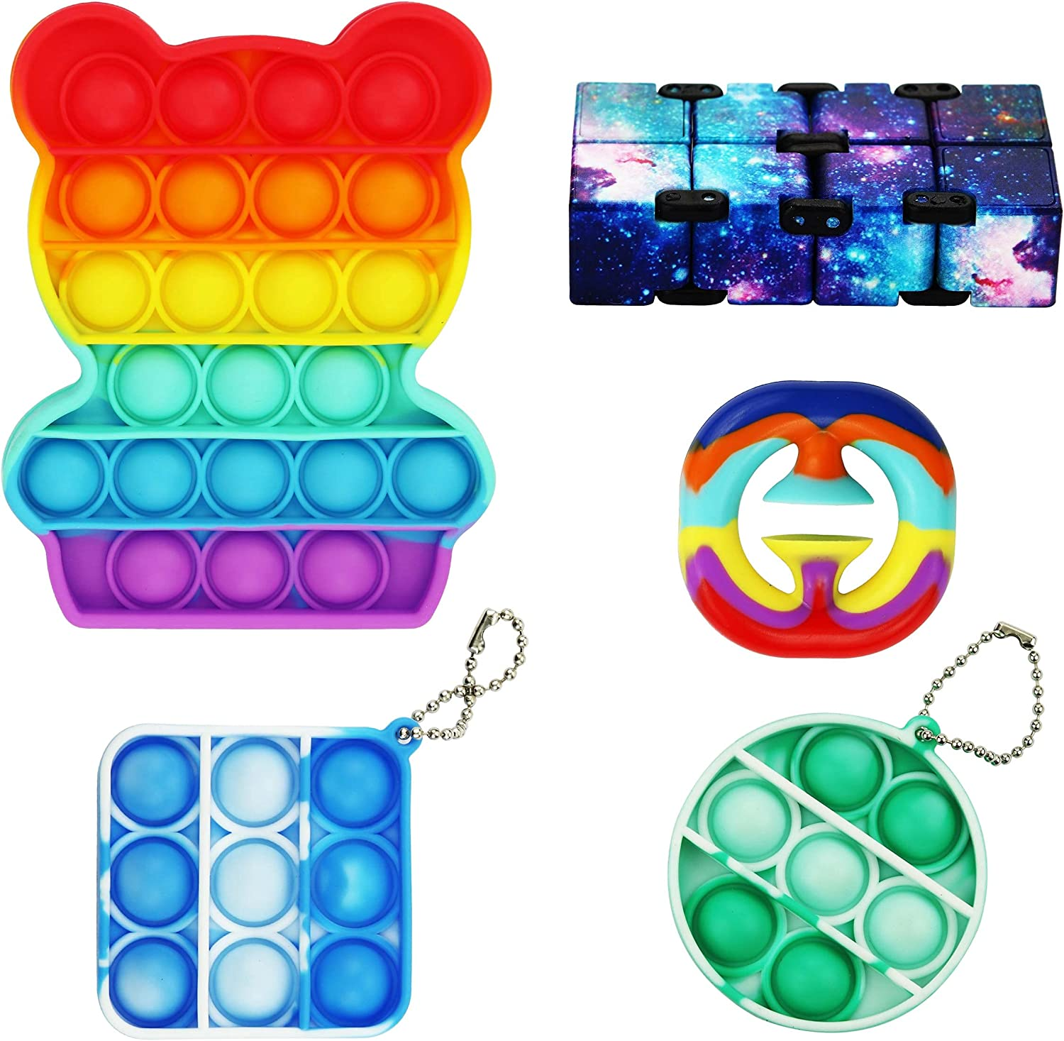 LYL happy 5-Piece Toy Set Infinite Cube Multicolor Bubble Toy Decompression Toy Squeeze Bubble Toy Hand Strength Training Toys Stress Relief Toys