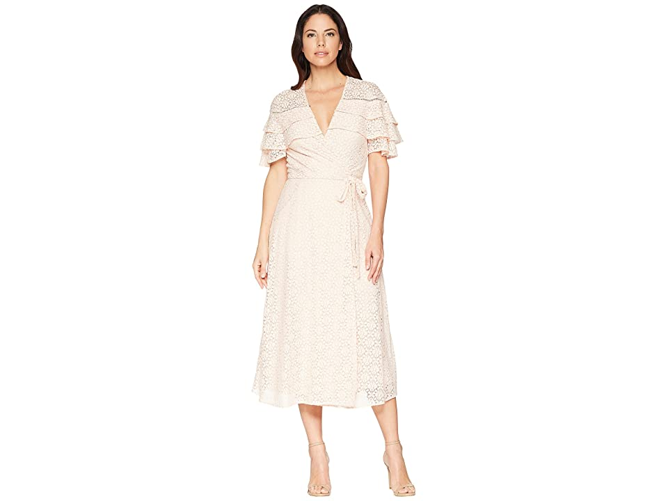 Taylor Tiered V-Neck Lace Wrap Dress (Peach) Women