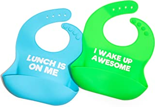 Funny Saying Silicone Baby bib Shower Gift Set - Perfect for New mom-dad-Grandparent of Infant or Toddler - boy or Girl - Soft Waterproof Food Catcher Pocket for Drool and Food! Fun Twin Gift 2 Pack