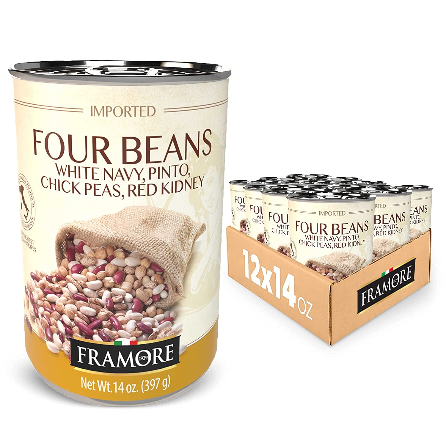 FRAMORE Price reduction Imported Authentic Italian Canned P Mix Bean Chick Four New Shipping Free