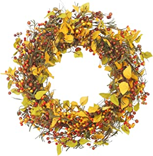 VGIA 22 inch Artificial Fall Wreath Door Wreath Berry Wreath for Front Door Fall Harvest Decorations