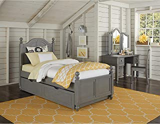 NE Kids Lake House Payton Twin Arch Bed with Trundle in Stone