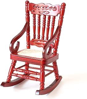 ドール用 ロッキングチェア ミニチュア家具 木製 完成品 (レッド)