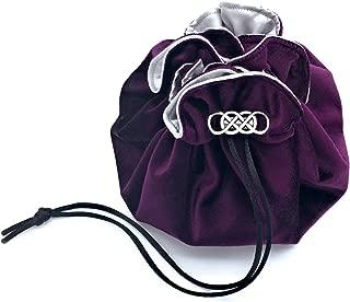 Plum Purple Velvet Silver Satin 8 Pocket Dice Bag